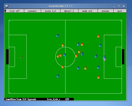 محیط شبیه سازی فوتبال بعد از شروع بازی